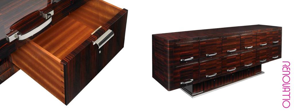 🇺🇸  Pollaro custom furniture based on the designs of master Art Deco designer Jacques-Emile Ruhlmann
